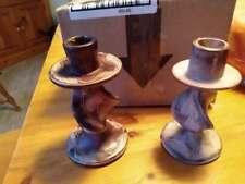 Vintage African Soapstone Candlesticks -  Kenya Zebra Carved Kesii Tri - 2 piece