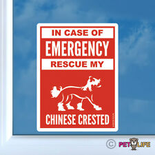 In Case of Emergency Rescue My Chinese Crested Sticker Vinyl - #2 safety v2 puff