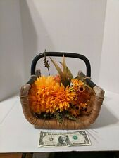 Vintage Wicker Flower Basket With Handle -- (Flowers not Included)