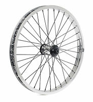 """SHADOW CONSPIRACY SYMBOL 20"""" FRONT WHEEL INCLUDES HUB GUARDS BMX BIKE SILVER NEW"""