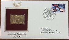 summer olympics 22kt gold plated stamp - baseball