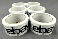 "6 Rolls 2"" x 75 yards Black - White Official eBay Branded Packaging Carton Tape"