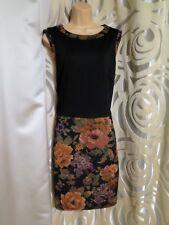 George black mix flower evening wedding strapless formal dress size 22