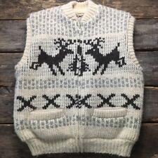 Vintage Tundra Xl 100% Wool Sherpa Lined Scandinavian Yarn Vest Icelandic