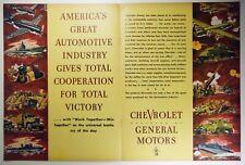 Vintage 1943 GENERAL MOTORS 2-Pg Lg Magazine Print Ad: WWII CHEVROLET PRODUCTION