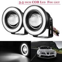 "2pcs 3,5"" universal Auto LED Nebelscheinwerfer weiß COB Angel Eyes Fog Light"