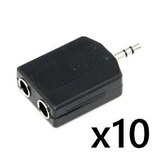 10 pcs New 3.5mm Stereo Male Jack to 2 Dual 6.35mm 1/4 Female Headphone Adapter