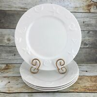 Thomson Pottery CAPE COD Stoneware Embossed Shells White Dinner Plates Set 4
