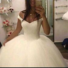 UK Princess White/ivory Bridal Gown Crystal Off Shoulder Wedding Dress Size 6-22