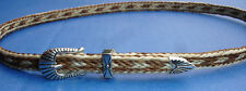 Western Decor Cowboy Brown/White HAT BAND Woven Horsehair Buckle