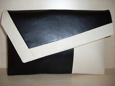 OVER SIZED CREAM & BLACK  faux leather lined clutch bag. Handmade