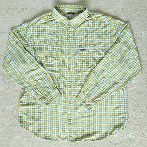 Columbia Mens Button Shirt Long Sleeve Vented Fishing Hiking Pockets 2XL Blue