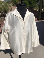 Eileen Fisher Silk Button Up Blouse Top Ivory Cream Sz. XL 3/4 Sleeves