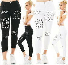 Jeans Damen High Waist Skinny Jeans 7/8 Jeanshose Used Look mit Schriftzug Print