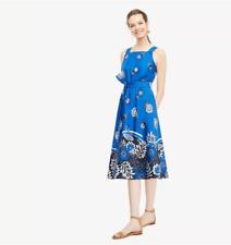 NWT Ann Taylor Sleeveless Tie Front Poplin Dress  $149 Azure Blue 4P