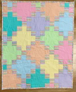 """Handmade Baby Quilt X-Large 38"""" x 46"""" Colorful Patchwork Crib Nursery New"""