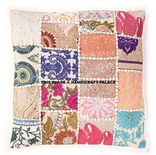 """16"""" Indian Patchwork Khambadia Cushion Covers White Pillow Sham Boho Home Decor"""