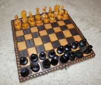 Vintage wooden Chess~old 60s~Wooden Chess~Full Set~Chess Travel Set Handmade