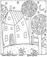 RUG HOOK PAPER PATTERN House Trees And Daisies FOLK ART PRIMITIVE Karla Gerard