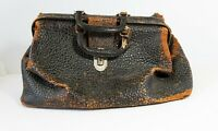 Vintage Doctors Bag, Textured leather, Ca. 1920's, lock closure, bun feet