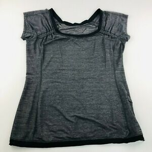 Lululemon Womens Top Yoga Running Fitness Lightweight Shirt 14 AU Grey 10 Can