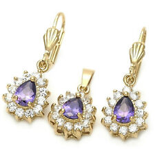 New 9CT Gold Filled Earrings Pendant adult Chain Set with Amethyst and White 212
