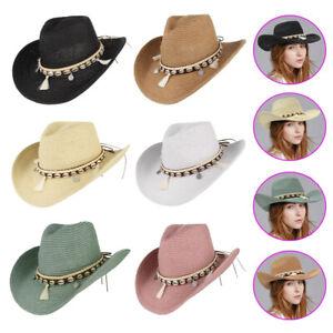 Straw Bucket Beach Sun Protection Visor Cap Summer Western Cowgirl Cowboy Hat
