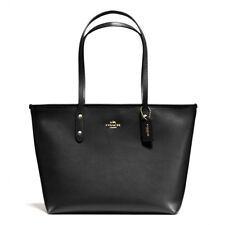 New Coach F58846 City Zip Tote In Crossgrain Leather Handbag Black Gold Hardware