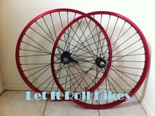 """26"""" Bicycle Alloy WheelSet Red With 12G Heavy Duty Black Spokes Cruiser Bikes"""