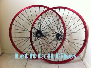 """26"""" x 1.75 Bicycle Alloy WheelSet Red With Black Spokes Cruiser Bikes"""
