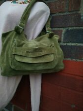 Accessorize Monsoon medium Green Leather suede Bag handbag shoulder tote