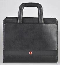 Wenger Swiss Army Zippered Black Leather Portfolio w Handles Organizer