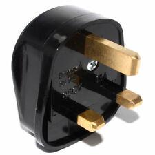 BLACK 3 PIN MAINS SOCKET ADAPTOR PLUG FUSED ADAPTER UK THREE PIN 240V 13AMP