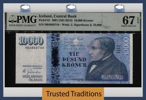 TT PK 61 2001 ICELAND CENTRAL BANK 10000 KRONUR PMG 67 EPQ SUPERB GEM UNC!