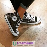 Converse All Star Nere Glitter Borchie Argento [Prodotto Personalizzato] Scarpe