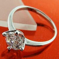 RING SOLITAIRE GENUINE 18K WHITE G/F GOLD SOLID 1 CT DIAMOND SIMULATED DESIGN