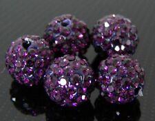 Lot de 2 Perles Shamballa - Couleur Améthyste -10mm #52#