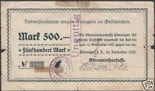 "German Notgeld""Ellwangen""500 Mark 1922 Good Cat#1425-3"