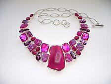 "AB Pink/Purple Botswana Agate Titanium Druzy Rainbow Topaz Necklace Silver 22"""