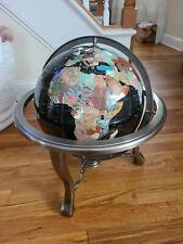 Large Semi-Precious Gemstone World Globe on Stand w/ Compass