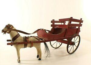 Jouet LENOBLE charrette en bois avec cheval composition 45 cm vintage horse cart