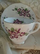 Vintage Dutchess Footed Tea Cup Saucer Bone China England Flowers Violet Gold
