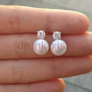 10-11mm natural AAA south sea white pearl stud earrings 925s