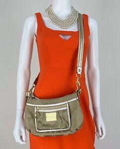 Coach Runway Beige Gold Logo Canvas Leather Messenger Crossbody Bag Purse Auth