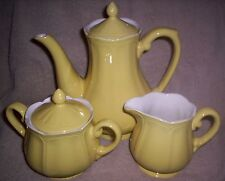 EUC FEDERALIST BUTTERCUP YELLOW COFFEE POT CREAMER AND SUGAR BOWL CREAM PITCHER