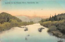 Looking Up the Russian River GUERNEVILLE, CA Hand-Colored 1910 Vintage Postcard
