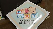 Winnie The Pooh Bear Baby on Board Warning Cute Window Decal Sticker Vinyl Sign