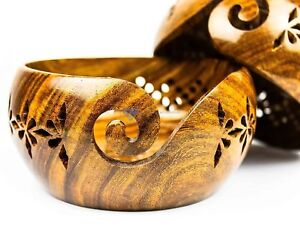 Crafted Wooden Yarn Rosewood Storage Bowl With Carved Holes & Drills   Knitting