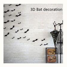 12x 3D Black Bat Diy Wall Sticker Decal Christmas Halloween Party Festival Decor