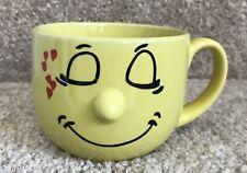 "Livingware Yellow Hearts Coffee Mug Cup ""3D"" Nose Smiley Face"